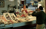 Fresh fish display market seafood Seville Spain Spanish