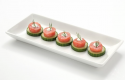 "Lobster Canapes, made with Clearwater's ""formed lobster meat portions"", blended with wild cod."